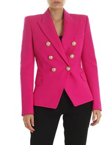 Balmain - Fuchsia wool jacket with gold buttons