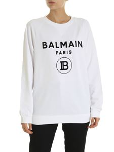 Balmain - White sweatshirt with Balmain Paris logo