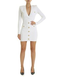 Balmain - White quilted effect dress
