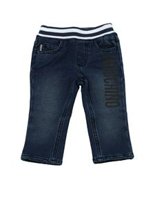 Moschino Kids - Blue trousers with logo print