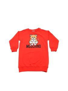 Moschino Kids - Red dress with Snowflake Teddy Bear print