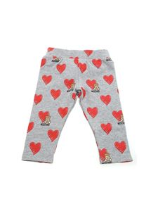 Moschino Kids - Grey leggings with Brushstroke hearts print