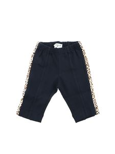 Monnalisa - Blue trousers with animal print detail