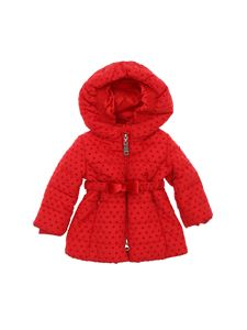 Monnalisa - Red down jacket with heart print