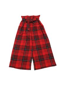 Monnalisa - Red trousers with tartan pattern