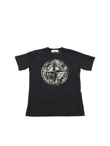 Stone Island Junior - Black T-shirt with logo print