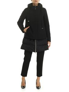 Herno - Black down jacket with fabric detail