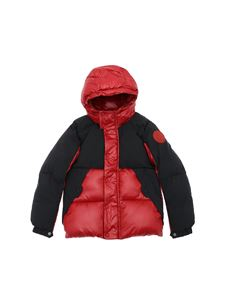 Save the duck - Hooded puffer jacket in red and black