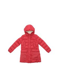 Save the duck - Hooded long down jacket in red