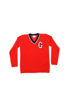 Gucci - Red V-neck pullover with white G