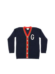 Gucci - Blue cardigan with white G