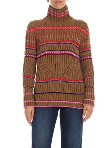 Ermanno Scervino - Striped high-neck pullover in camel color
