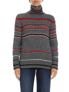 Ermanno Scervino - Striped high collar pullover in grey