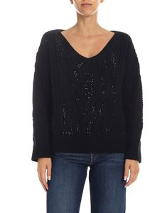 Ermanno Scervino - Black V-neck sweater with applied rhinestones