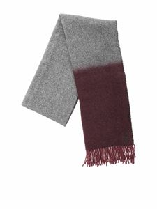 Dondup - Harringbone scarf in gray and burgundy