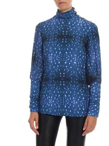 Stella Jean - Blue blouse with golden buttons