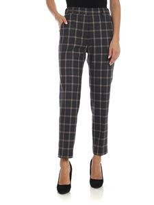 Peserico - Grey trousers with contrasting check pattern