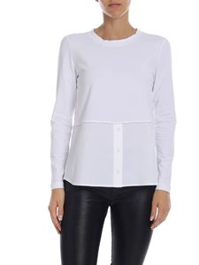 Peserico - Long sleeve t-shirt in white with micro-beads