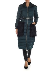 Elisabetta Franchi - Down jacket in green with eco-fur details