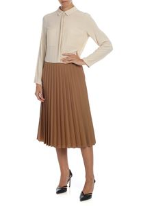 Semicouture - Pleated dress in beige and camel color
