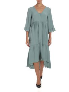 Semicouture - Shirt dress in sage green color silk blend