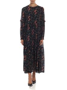 Semicouture - Floral printed long dress in black