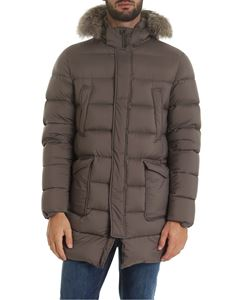 Herno - Gray down jacket with fur insert