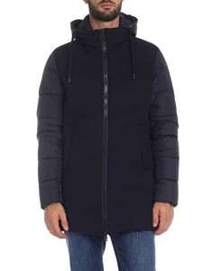 Herno - Down jacket in blue with viscose detail