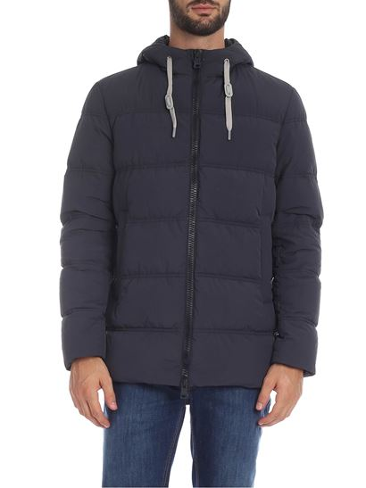 Herno - Down jacket in blue with silver metal logo