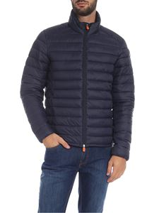 Save the duck - Down jacket in blue with logo patch