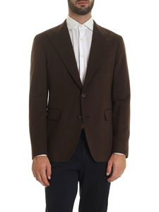 Tagliatore - Single-breasted jacket brown with logo brooch