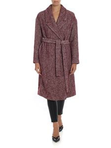 Semicouture - Herringbone coat in burgundy and white