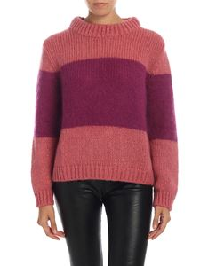 Semicouture - Pullover rosa e viola a righe