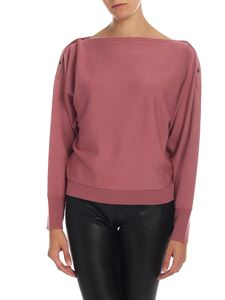 Semicouture - Pullover crop in lana vergine rosa