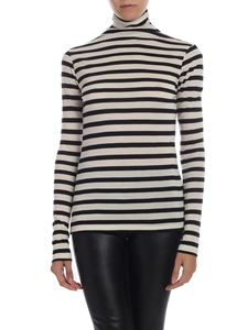 Semicouture - High collar striped t-shirt in cream and black