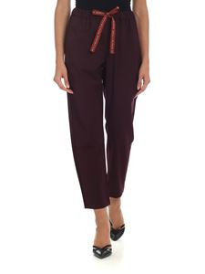 Semicouture - Wine-colored trousers with drawstring