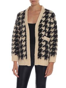 Semicouture - Houndstooth cardigan in beige and black