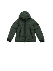 Stone Island Junior - Down jacket in green with logo on the sleeve
