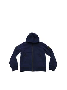 Stone Island Junior - Hooded jacket in blue