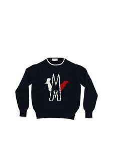 Moncler Jr - Pullover with white and red inlay in blue