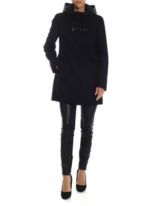 Fay - Black coat with hood in technical fabric