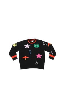 Stella McCartney Kids - Pullover girocollo nero con ricami multicolor