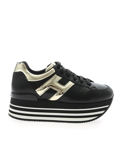Hogan Fall Winter 19/20 h283 maxi 222 sneakers in black and gold ...