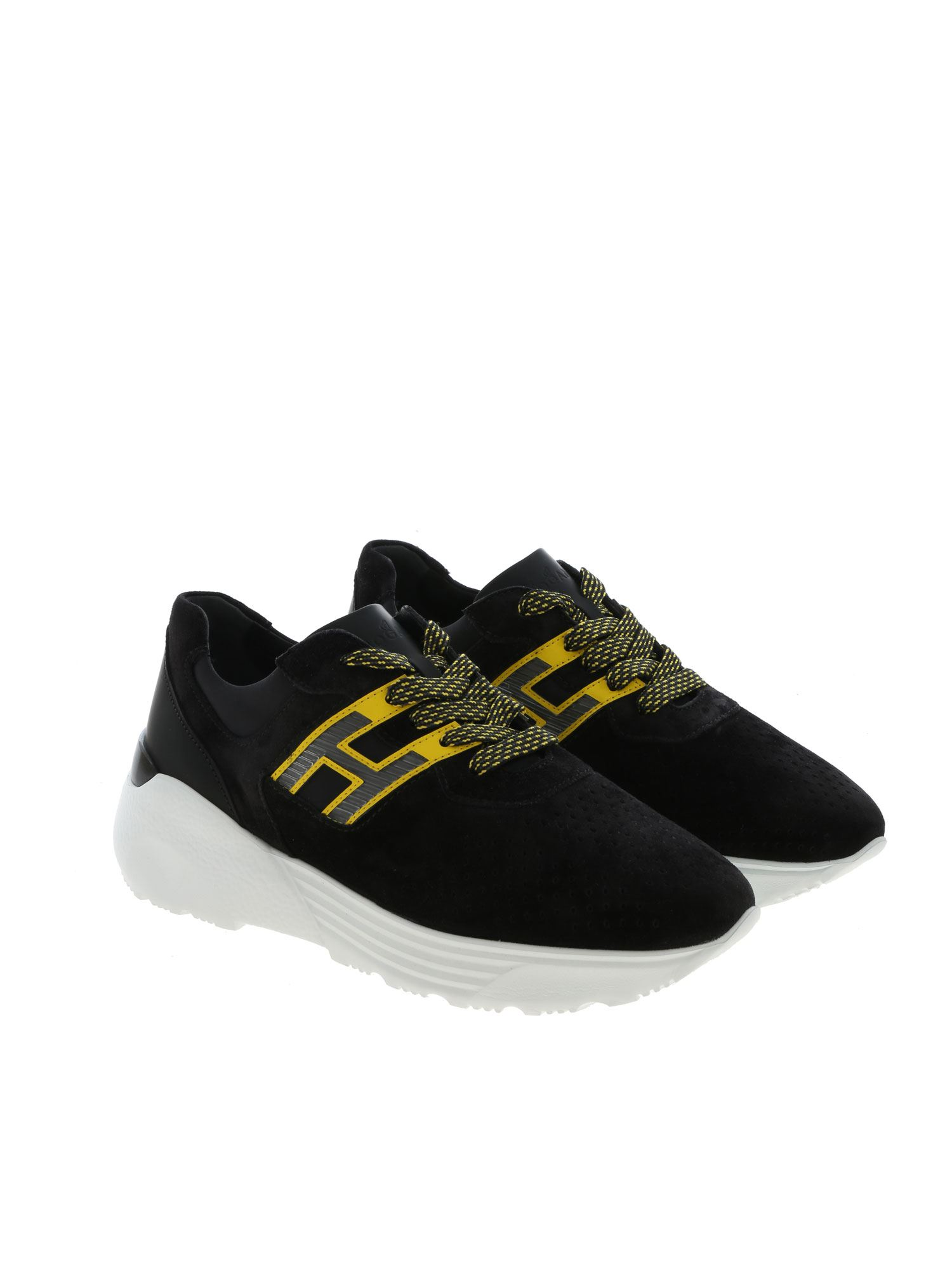 Hogan Sneakers In Perforated Rubber And Neoprene Suede With Neon ...
