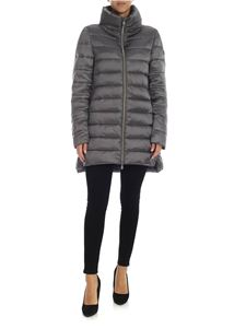 Save the duck - Grey down jacket with logo patch
