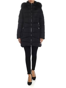 ADD - Quilted down jacket in black with fur insert