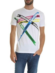 Dsquared2 - Multicolor Tape T-shirt in white