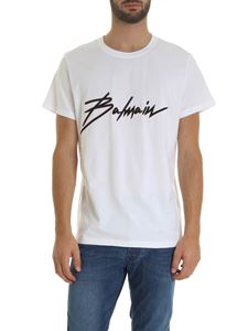 Balmain - White t-shirt with Signature flock logo