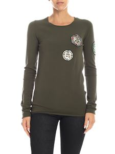 Dondup - T-shirt verde militare con patch dorate