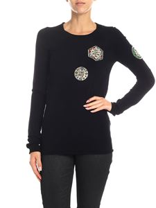 Dondup - T-shirt nera con patch dorate